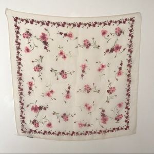 Vtg Small Sheer Floral Scarf